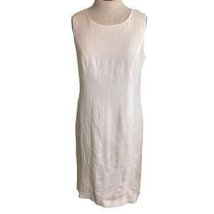 Adolfo Studio White Linen Sleeveless Dress Size 8